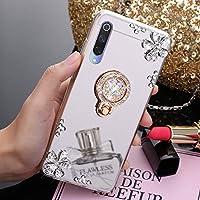 JAWSEU Funda Brillante Compatible con Xiaomi Mi 9, Transparente Brillo Espejo Suave Silicona TPU Gel Goma Funda con Anillo Soporte Crystal Bling Diamante Flores Ultra Delgada Carcasa,Plata