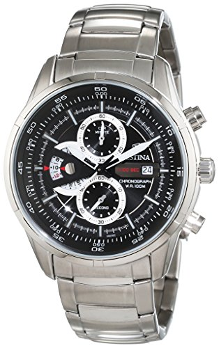 Festina Men's Quartz Watch with Black Dial Chronograph Display and Silver Stainless Steel Bracelet F6823/3