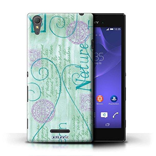 Kobalt® Imprimé Etui / Coque pour Sony Xperia T3 / Orange / Bleu conception / Série Motif Nature Turquoise / Violet