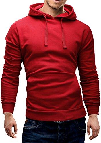 Merish Hoodie Sweatshirt Herren Pullover Kapuzenpullover Pulli Sweater 9 Farben S-XXL Modell 210 Bordeaux