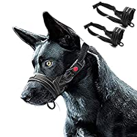 FRETOD Dog Muzzle to Stop Biting Barking and Chewing - Adjustable Nylon Quick Fit Loop with Soft Padding & Security Lock Reflective Strip - L & XL (Black)
