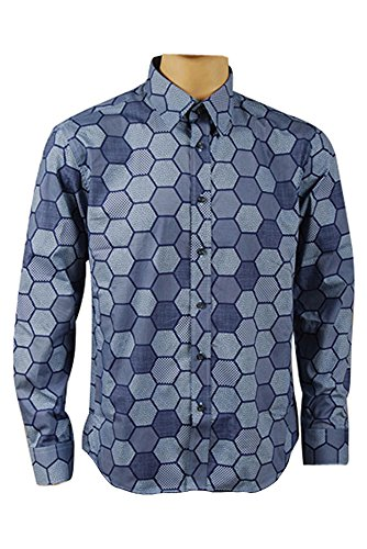 Manfis Cosplay Kostüm Clown Hemd Hexagon Blau XL