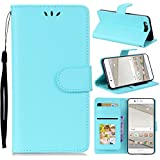 (for Huawei P10) Flip Wallet Case Cover And 360 Degree Full Body Protective Bumper Cover, Premium Protective Skin Material - Sky Blue