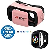 Drumstone Mini Virtual Reality Headset 3D Video Movie Game Glasses With A1 Bluetooth Smart Watch Sport SIM Card And TF Card Compatible With Xiaomi, Lenovo, Apple, Samsung, Sony, Oppo, Gionee, Vivo Smartphones (One Year Warranty)