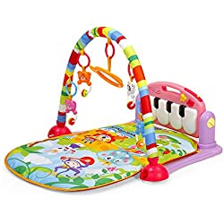 Leting Gimnasio Manta de Juegos Dinámica para Bebé, Piano Pataditas, 4 Animales Enlightenment Education, Gimasios Bebe (Rosa)