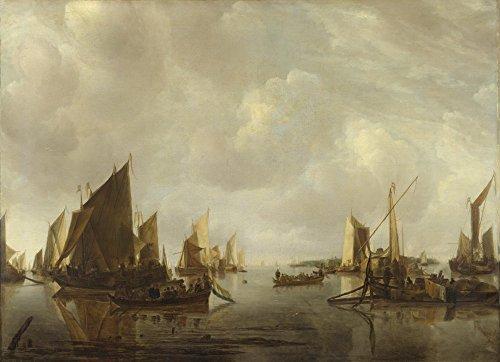 Das Museum Outlet-Jan van de Cappelle-Ein Fluss Szene mit Dutch Schiffe Flaute, gespannte Leinwand Galerie verpackt. 29,7x 41,9cm