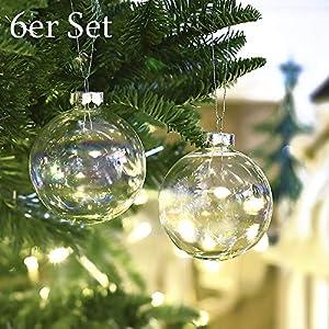 Valery Madelyn 6er Set 8cm Weihnachtsglaskugel Set, Transparente Weihnachtskugeln Dekoration für Weihnachten im Winter
