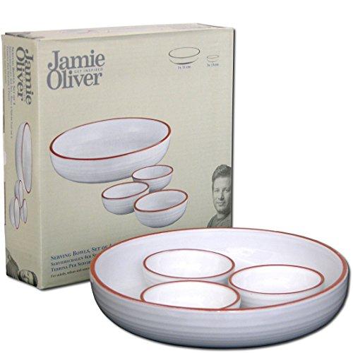 Jamie Oliver Servierschale und 3 Schälchen, Salatschüssel und Dip Schalen oder Ofen-Auflaufform aus Terracotta Keramik