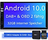 Tristan Auron BT2D7025A Autoradio + DAB+ Box und OBD 2 Adapter. Android 10.0, 7'' Touchscreen Bildschirm, GPS Navi, Bluetooth Freisprecheinrichtung, Quad Core, USB/SD, OBD 2, DAB, 2 DIN