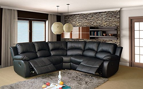 Compare Prices for VALENCIA 2C2 LEATHER RECLINER CORNER SUITE (BLACK) Reviews