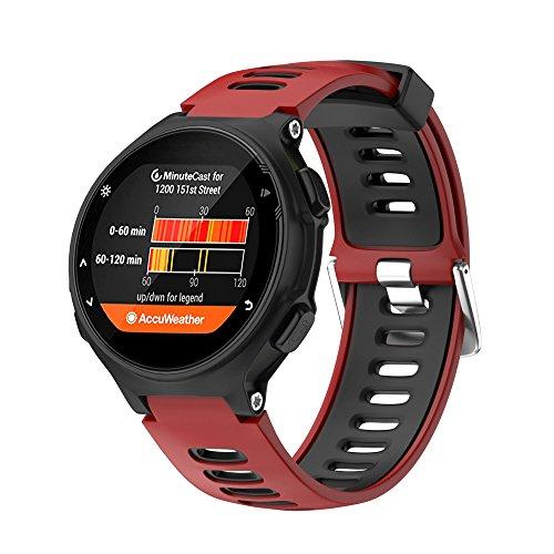 JiaMeng Banda de Pulsera de Silicona Suave reemplazo Wristband Pulsera de Repuesto para Garmin Forerunner 735XT Reloj(Rojo)