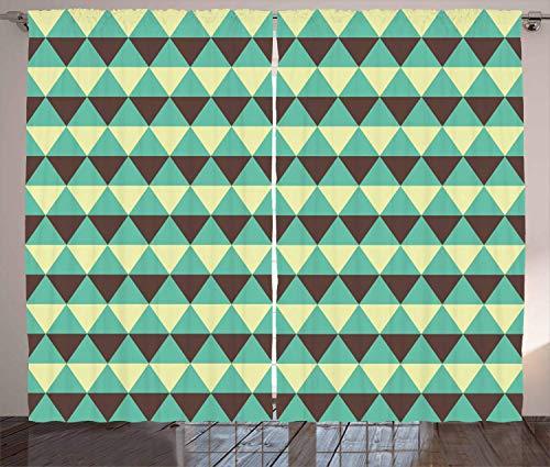 Seafoam Curtains, Geometric Abstract Diamond Rhombuses Pattern Retro Triangle Arrangement, Living Room Bedroom Window Drapes 2 Panel Set, Beige Brown Seafoam,110 W X63 L inch (Black-gold-ring Blue Diamond)
