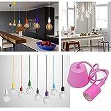 Princeway Farbe Silikon Moderne Hängelampe Befestigung- Europäische IKEA Stil- DIY Einfache Installation für Beleuchtung für Zuhause in Küche, Esszimmer, Wohnzimmer, Kinderzimmer und Restaurant (Pink)