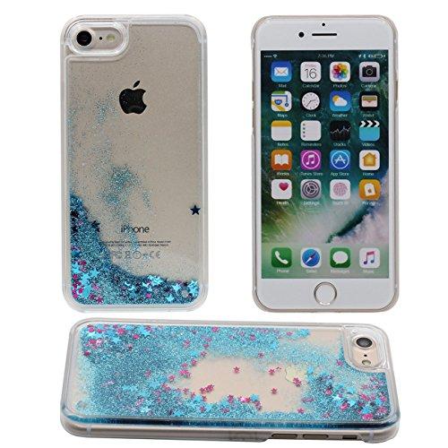 iPhone 7 Plus Copertura Protettiva Bello Fluido Stelle Serie Acqua Liquido Duro Plastica PC Gel Trasparente Custodia Case per Apple iPhone 7 Plus 5.5 inch blu