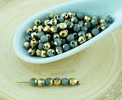 100pcs Opaque Or Gris Demi-Rond à Facettes Feu Poli Verre tchèque Perles de Petit Écarteur 3mm