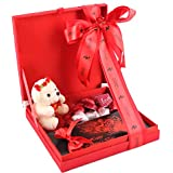 Zoroy Luxury Chocolate Red Silk Box With Valentines Day Love Gift Chocolates And Teddy Bear