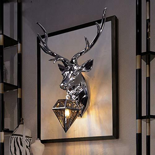 Jzmai Wandlampe mit Hirschkopf, Wandlampe, Wohnzimmer, Schlafzimmer, TV, Hintergrund, Persönlichkeit, Kreative Mode Geweih Large schwarz