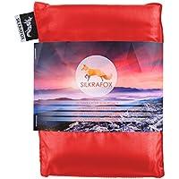 Silkrafox Saco de dormir ultraligero para las excursiones de senderismo, los viajes, las acampadas, seda artificial, rojo