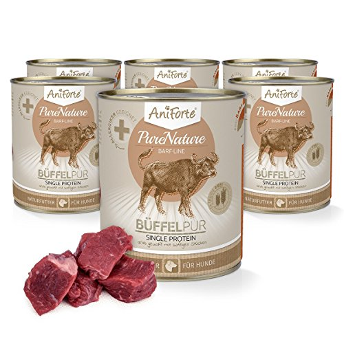 AniForte® PureNature easyBarf Single Protein 800g 100% Fleisch Hundefutter- Naturprodukt für Hunde (Büffel Pur, 6x800g)