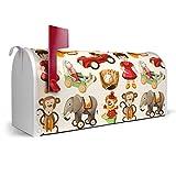 BANJADO US Mailbox | Amerikanischer Briefkasten 51x22x17cm | Letterbox Stahl weiß | mit Motiv Altes Spielzeug, Briefkasten:ohne Standfuß