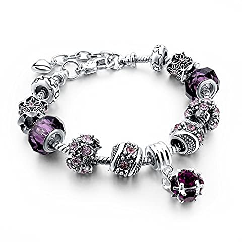 Long Way Blue Beads Carved Bracelet Sliver Plated Snake Chain Charm Strand Bracelet For Women&Men (Purple)