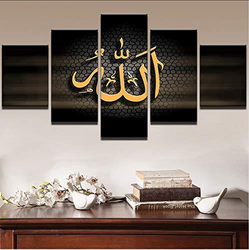 zlxzlx (Kein Rahmen) Leinwand Wandkunst Hd Gedruckt ModernesÖl Poster 5 Stücke Islamischen Allah Der Koran Malerei Wohnkultur Buchstaben Bilder
