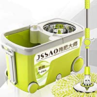AYHa Green Mop Bucket Rotating Double Drive, 360 Mop with Stainless Steel Drying Basket, Mop Bucket with 4 Wheel and Microfiber Mop Heads,6 mop Heads,