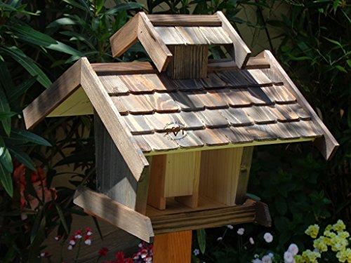 Vogelhäuser mit ständer BTVK-VOVIL4-MS-at001 NEU! PREMIUM-Qualität,Vogelhaus,!!! KOMPLETT mit Ständer !!! wetterfest lasiert, MIT großem SILO, Qualität Schreinerware 100% Massivholz – VOGELFUTTERHAUS MIT FUTTERSCHACHT-Futtersilo Futterstation Farbe schwarz lasiert, anthrazit / Holz natur, Ausführung Naturholz MIT TIEFEM WETTERSCHUTZ-DACH für trockenes Futter - 3