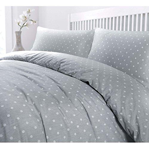 Juego de cama con edredón nórdico con tejido de lujo de extremo a extremo y fundas de almohada con diseño de lunares, Grey with White Dots, matrimonio