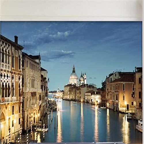 3D Vliesstoff Wallpaper Großes Wandbild Wohnzimmer Schlafzimmer Tv Wand Hintergrundbild Cafe Bar Tabelle Venedig Stadt Nachtansicht, 300 Cm * 210 Cm