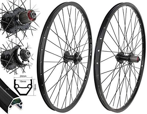 Bärwinkel's Laufradsatz Ventura DISC 26 Zoll 559-19 8,9-10 Fach für Shimano Kassette schwarz 6 Loch Speichen schwarz -
