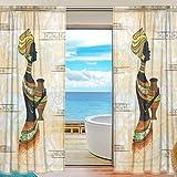 ISAOA Rideau Voilage Rideau Transparent - Ethnique Africain - Femme Noire Semi-Transparente - pour Chambre à Coucher ou Salon - Deux Panneaux - 140 x 178 cm, Polyester, Multicolore, 55x78x2(in)