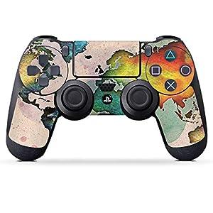 DeinDesign Sony Playstation 4 Controller Folie Skin Sticker aus Vinyl-Folie Aufkleber Weltkarte Bunt Spruch