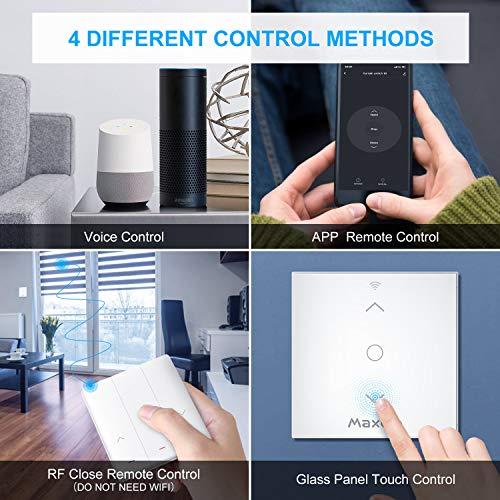 Wifi Interruptor Persiana, Maxcio RF Interruptor de Persiana Inteligente Compatible con Alexa y Google Home, Control de APP y Receptor Inalámbrico con Temporizador para Motor Persiana, Motor Tubular