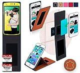 reboon Hülle für Oppo N1 Mini Tasche Cover Case Bumper | Braun Leder | Testsieger