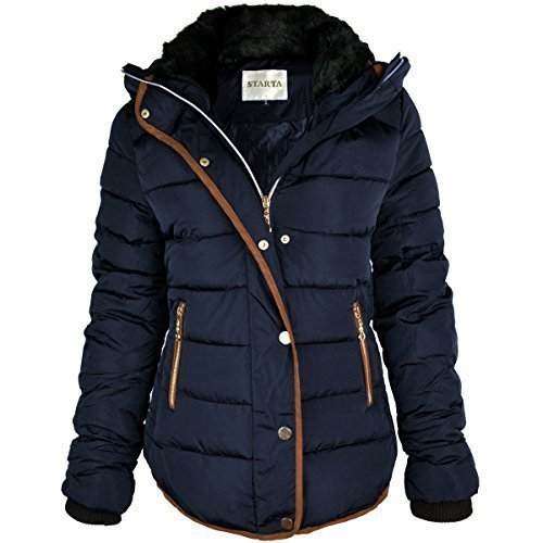 WOMENS LADIES QUILTED WINTER COAT PUFFER FUR COLLAR HOODED JACKET PARKA SIZE NEW (UK 12, Navy Blue / Brown Trim)