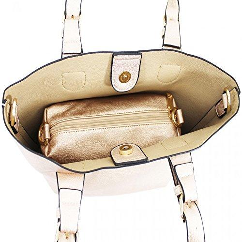 LeahWard® Damen Zwei In eins Handtaschen mit Frei Bilden Beutel Tasche Schulter Käufer Tote Zum DamenHochschule Schule Arbeit 1014 Braun mit Frei Bilden Tashen