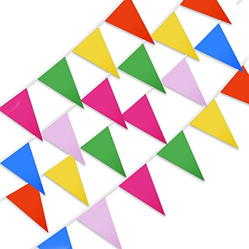 husdow 10m/33ft Bewässerungs Pennant Flagge Banner, 30Flaggen Muticolor Wimpelkette Banner Kunststoff Flaggen für Parade Festival Karneval Party Dekorationen (Toy Rose Parade)