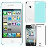 ebestStar - Coque iPhone 4S, 4 - Housse Coque Silicone Gel Souple ULTRA FINE INVISIBLE + Film protection écran en VERRE Trempé, Couleur Bleu [Dimensions PRECISES de votre appareil : 115.2 x 58.6 x 9.3 mm, écran 3.5'']