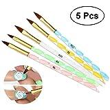 PIXNOR uñas de acrílico pincel pluma Gel UV líquido polvo de cepillo bricolaje No.12.10.8.6.4, paquete de 5