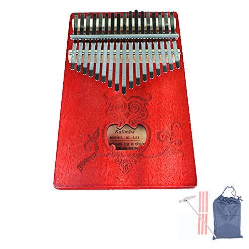 Daumenklavier 17 Tasten, Mahagoni Tone Holz, mit Study Instruction und Tune Hammer, Geeignet für Kinder Erwachsene Anfänger, Profis,Rot