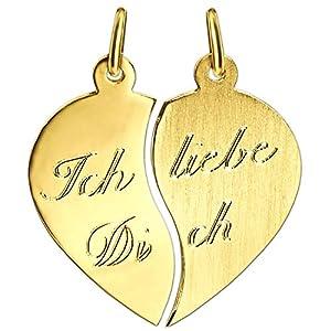 """Clever Schmuck Goldener Partneranhänger kleines Herz 16 x 17 mm geteilt""""Ich liebe Dich"""" matt und glänzend 333 GOLD 8 KARAT"""
