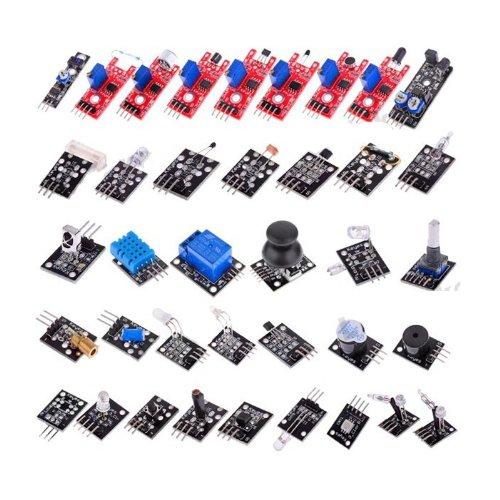 Rocsai 37in 1Sensor Module Kit mit Relais, LED, Analog, IR, Licht, Tippen, Switch-Modul für Arduino -