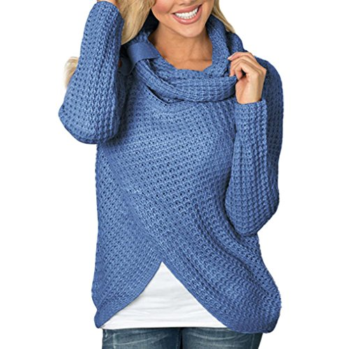 Marlene(R) Damen Langarm Pullover Button Strickwaren Mode Sweatshirt Tops Rundkragen Herbst Winter Bluse Shirt
