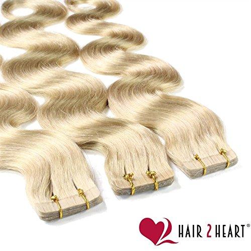 hair2heart 10 x Tape In Extensions aus Echthaar, 60cm, 2,5g Strähnen, gewellt - Farbe 20 aschblond