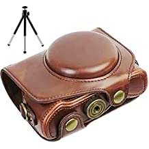 First2savvv XJPT-G7XII-10G6 Funda Cámara cuero de la PU cámara digital bolsa caso cubierta con correa para Olympus pen Canon PowerShot G7 X Mark II .G7X M2 marron oscuro + mini trípode