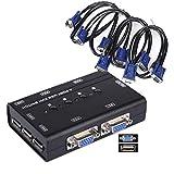 USB KVM Switch Box + 4 cavi VGA USB per PC Monitor/Tastiera/controllo del mouse