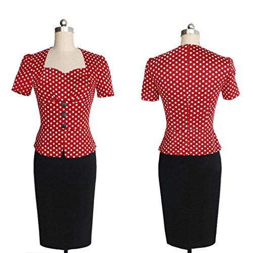 Klassisches Design Kurze Ärmel Damen Tiefer Kragen Vintage Kleid Etuikleid Schlauch Cocktail Tulpenkleid - 3