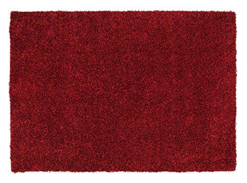 CAPRI SHAGGY Hochflor Langflor Teppich Wolle in dk.rot, Größe: 170x240 cm -