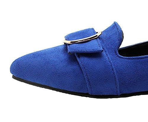 VogueZone009 Femme Dépolissement Couleur Unie Tire Non Talon Chaussures Légeres Bleu